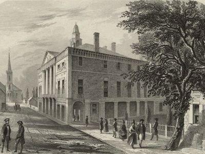 """""""Old City Hall, Wall St., N.Y."""" Steel engraving by Robert Hinshelwood"""
