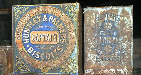 Huntley and Palmers biscuit tins that were found in Antarctica.