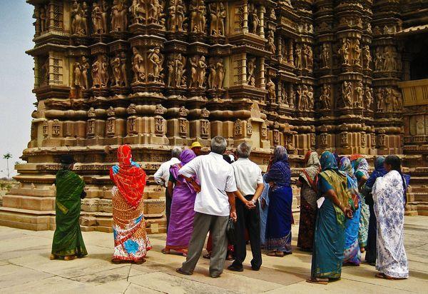 People at Khajuraho Temple, India thumbnail