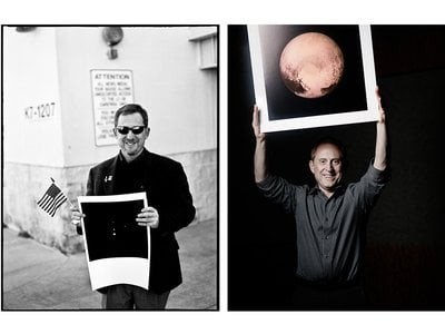 Left: Alan Stern holds a 2005 Hubble image of the Pluto system on January 19, 2006, two hours after the successful launch of the New Horizons probe. Right: A triumphant Stern holds a full-frame image of Pluto, taken just hours before the New Horizons probe reached its closest point to Pluto.