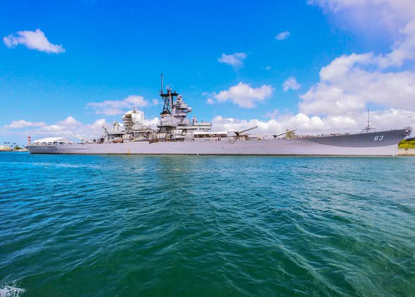 The Mighty Mo touring Battleship Row in Pearl Harbor. thumbnail