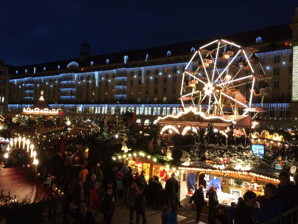 Bright lights and large crowds were ever-present at the Weihnachtsmarkt in Dresden, Germany, 2014. (Photo by Pete Reiniger)