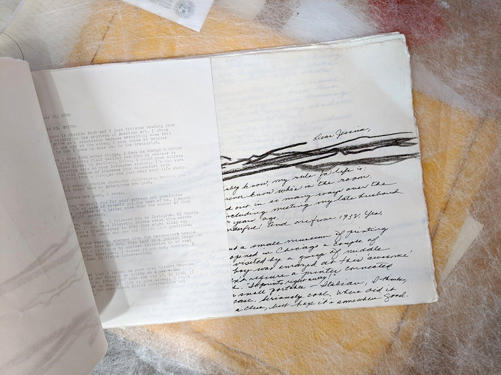 Handmade artists book consisting of drawing and a handwritten letter interleaved with typed correspondence.