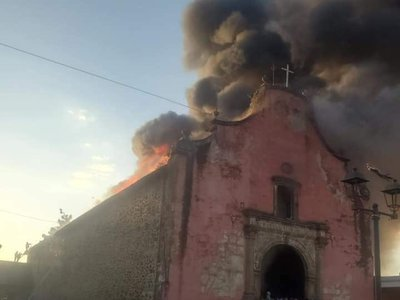 Much of the Apostle Santiago Church burned to the ground in a March 7 fire.