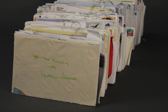 Stack of envelopes addressed to the family of Matthew Shepard