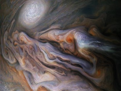 The color-enhanced image was created by citizen scientists Gerald Eichstädt and Seán Doran using data from the spacecraft's JunoCam imager, according to NASA.