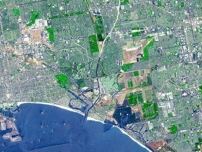 A satellite image of Los Angeles