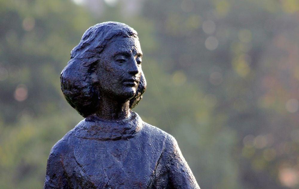 Statue of Anne Frank at Merwedeplein in Amsterdam