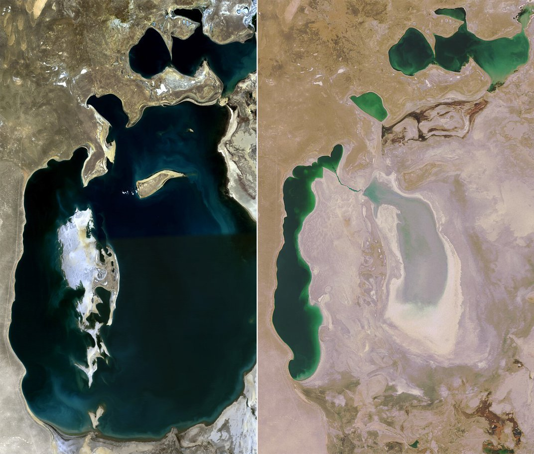 Between 1989 (left) and 2008 (right), the Aral Sea shrunk considerable. Credit: NASA Earth Observatory/Wikimedia