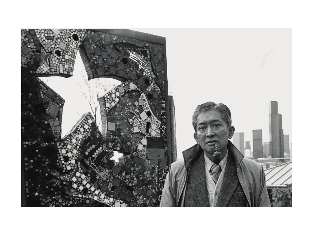 Photograph of Val Laigo next to his mosaic in Dr. Jose Rizal Park, Seattle, Washington (detail), between 1988 and 1989 / unidentified photographer. Val Laigo papers, 1954-1998. Archives of American Art, Smithsonian Institution.