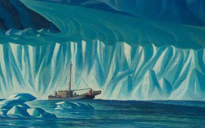Dale Nichols, Navigating Icebergs, 1941 oil on canvas panel, 22 x 25, From the Collection of Valentino Chickinelli, Omaha, Nebraska.