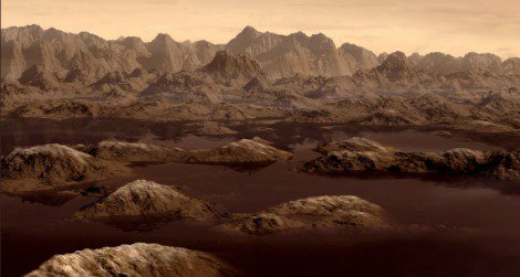 Artist's rendition of a ethane lake on Titan.