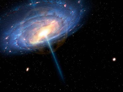 """An artist's impression of the Milky Way six million years ago, depicts an orange bubble at the galactic center and extending to a radius of about 20,000 light-years. Scientist think that outside of that bubble, a pervasive """"fog"""" of million-degree gas might account for the galaxy's missing matter."""