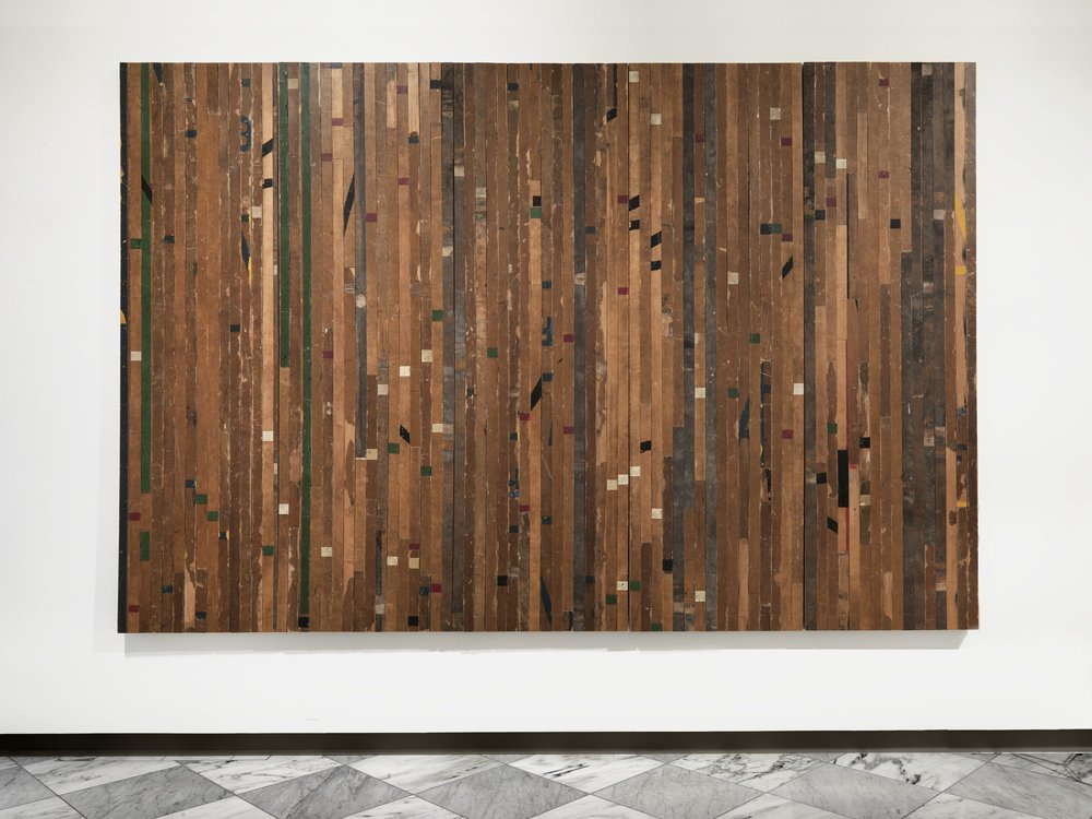 Theaster Gates, Ground rules. Free throw, 2015, wooden flooring, Smithsonian American Art Museum, Museum purchase through the Luisita L. and Franz H. Denghausen Endowment, 2017.40, © 2015, Theaster Gates (Smithsonian American Art Museum)