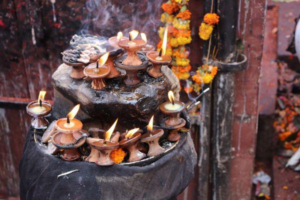 Lit candles for an Festival in Katmandu thumbnail