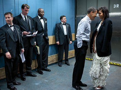 The President with the First Lady in a freight elevator heading to an inaugural ball in 2009.