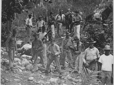 U.S. Marines search for Haitian rebels in 1919.
