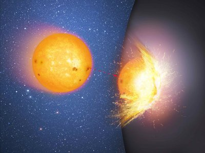 An artist's rendering of a star colliding with the surface of a supermassive sphere. In recent years some scientists have surmised that black holes may be hard objects rather than a region of intense gravity and compressed matter.