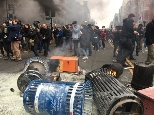 Smoke and flames at Inauguration Day Protest thumbnail