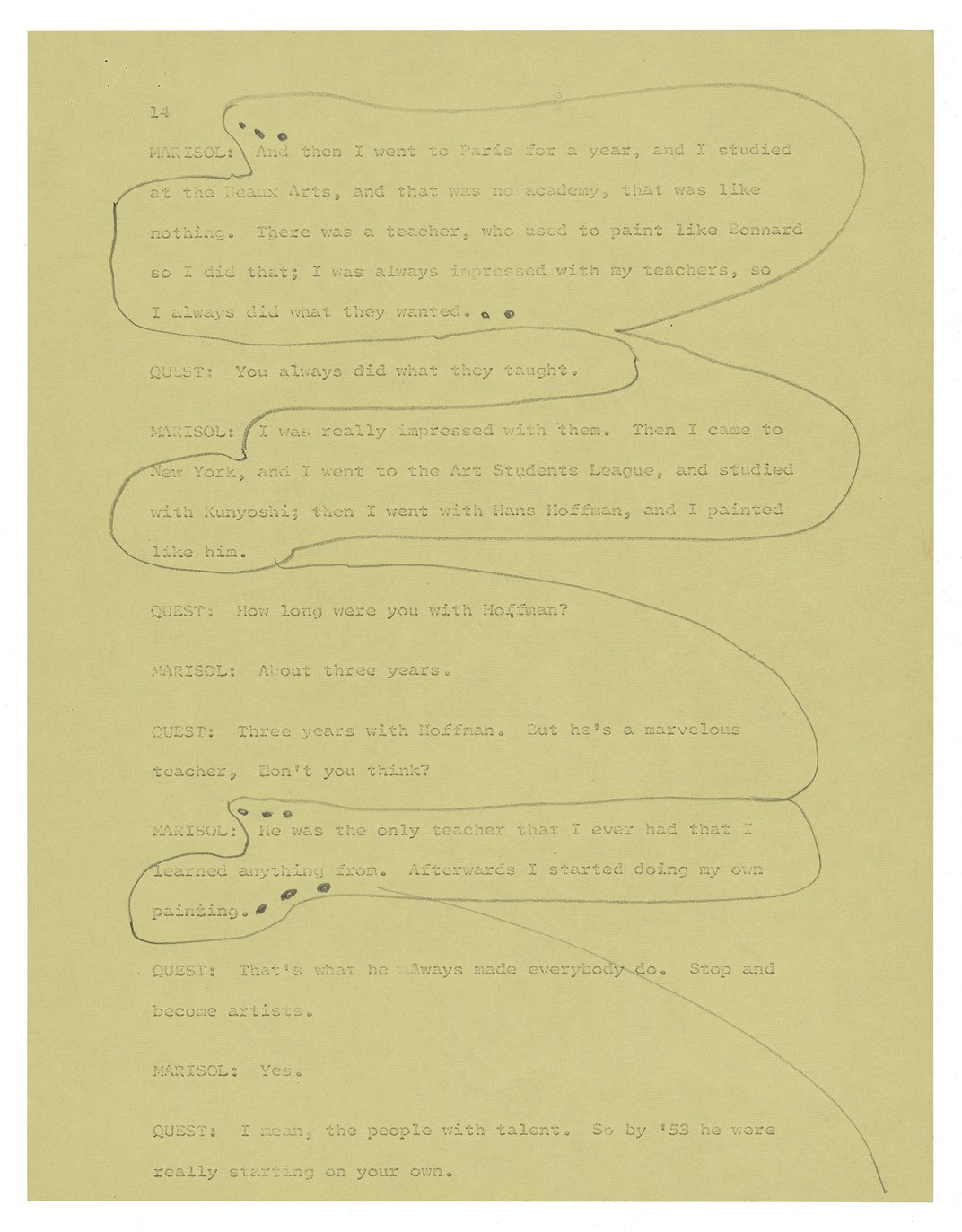 Typescript page from an interview on yellow paper with pencil markings and notations.