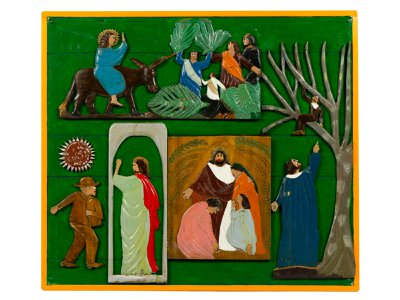 A page from Pierce's 1932  Book of Wood, designed as an aid for preaching the Bible, features scenes titled  Entry into Jerusalem, Zacchaeus Watches, Sun and Sower, Behold I Am the Door, and  Christ Teaches Humility.