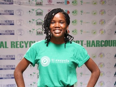 Oluwaseyi at a Movie screening hosted by her organization in commemoration of Global Recycling Day 2021. Photo courtesy Oluwaseyi Moejoh