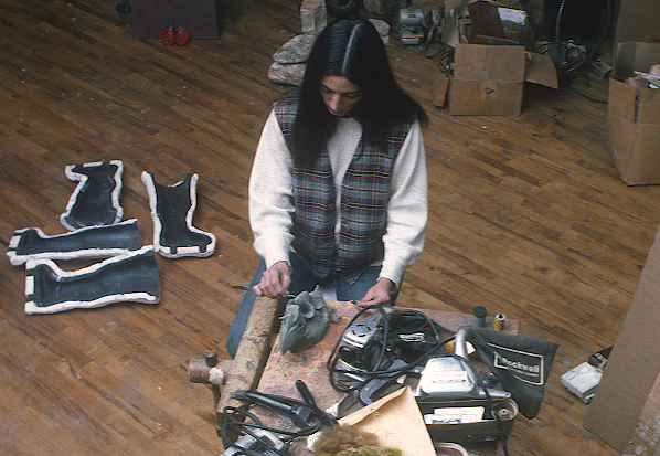 Robin Forbes. Marisol in her studio, ca. 1975-76 (detail). Robin Forbes slides of SoHo, 1975 - 1976. Archives of American Art, Smithsonian Institution.