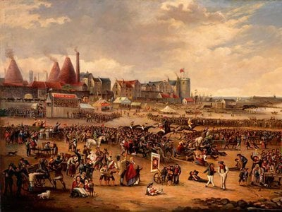 The Leith glass factory's cone-shaped furnaces appear in the background of painter William Reed's Leith Races.