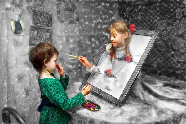Girl artist and her painting. Nikon 3200 thumbnail