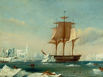 USS Vincennes in Disappointment Bay, Antarctica, during the Wilkes expedition.