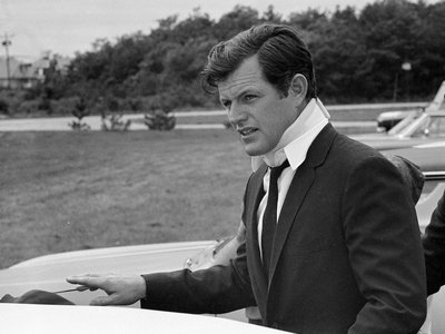"""Senator Edward Kennedy, pictured here on July 22, 1969 after the Chappaquiddick accident that resulted in the death of Mary Jo Kopechne. The new film """"Chappaquiddick"""" recounts the events of that week."""