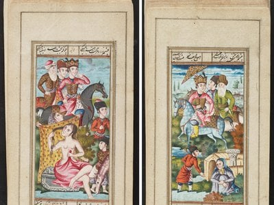 These illustrations come from a miniature book of classical Persian poetry.
