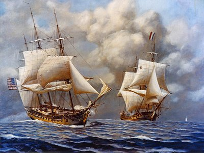 """French privateers and the newly reformed U.S. Navy fought in the Quasi War. """"Despite these effective U.S. military operations, however, the French seized some 2,000 U.S. vessels during this conflict,"""" writes historian Nathaniel Conley."""