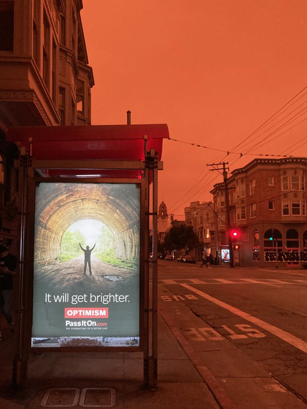 Fiery sky in San Francisco, with a dose of irony thumbnail