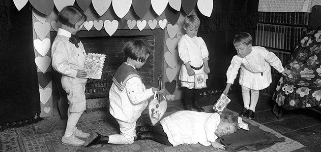 Children exchanging Valentines