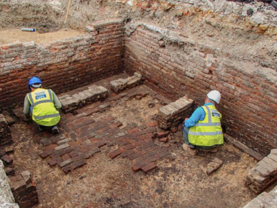 Excavations of the Red Lion, thought to be the oldest theater in London, also uncovered two nearby beer cellars.