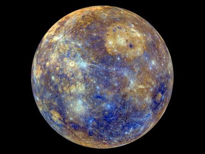 An enhanced-color image of Mercury taken by the MESSENGER spacecraft in 2012 as part of a mission to map the geologic features of the planet.