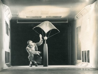Francis Rogallo (above, in 1959 in a wind tunnel at NASA's Langley Research Center in Hampton, Virginia) along with his wife Gertrude, originally conceived of their paraglider in the mid-1940s to make aviation more practical and economically available to more aviators.