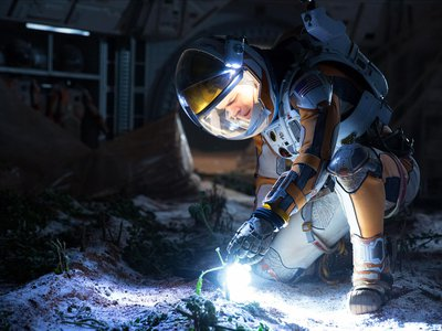 As part of his survival plan, Watney uses vacuum-packed potatoes to start his own farm on Mars.