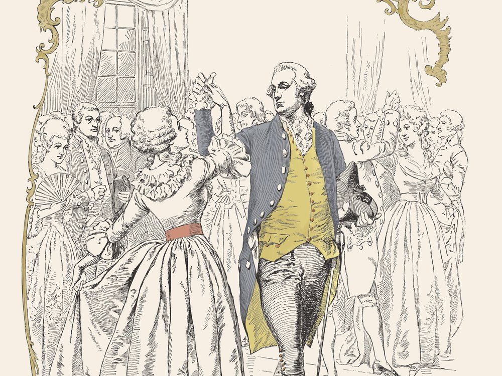 Harper's Bazaar celebrated the centennial of George Washington's 1789 inauguration with a cover featuring the first president dancing the minuet at his inaugural ball.
