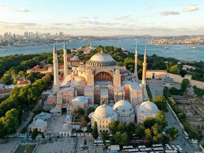 Aerial view of Istanbul's Hagia Sophia