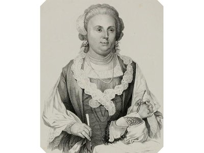 Anna Morandi Manzolini (1714-1774), Italian anatomist and sculptor, from a drawing by Cesare Bettini.