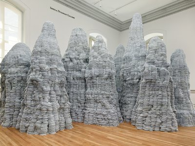 Marking the reopening of the Renwick Gallery, Donovan constructed 10 towers by stacking and gluing hundreds of thousands of index cards on top of each other.