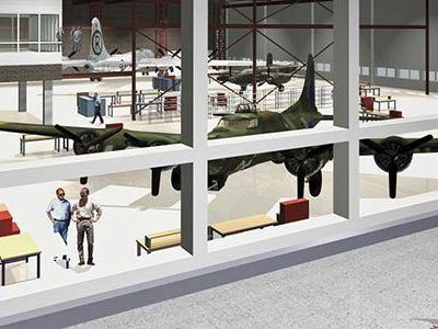 Now open: Udvar-Hazy's Mary Baker Engen Restoration Hangar (artist rendering).