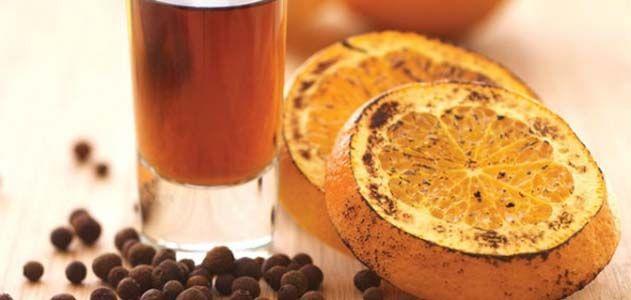Black rum, charred orange and allspice.