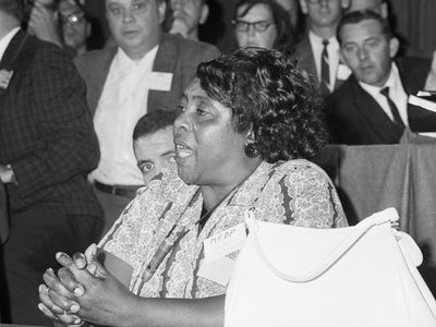 """Civil rights activist Fannie Lou Hamer's searing speech about the brutality she'd endured because, as a voting rights activist, she wanted black Americans """"to become first-class citizens,"""" made primetime before the 1964 DNC officially kicked off."""