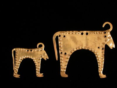 This gold appliqué, more than six millennia old, appears to be a bull but has buffalo-like horns.