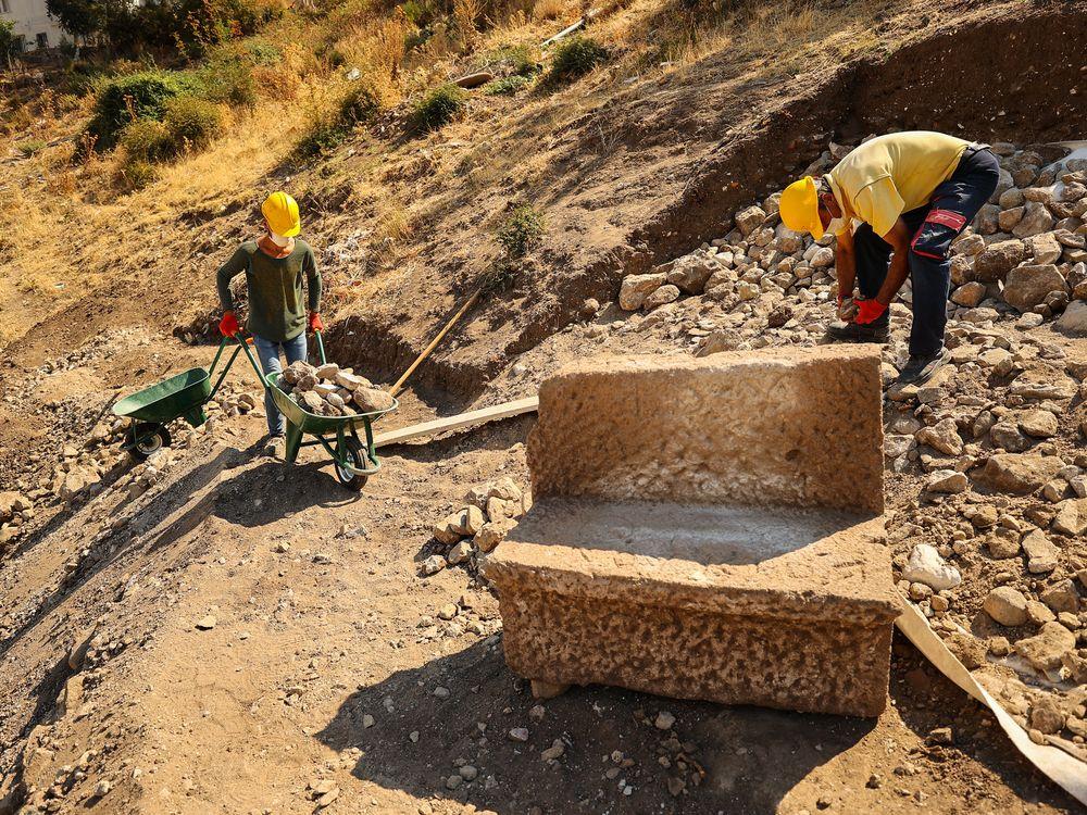 Inscribed stone seat found in Pergamon amphitheater