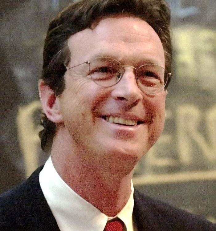 American author and speaker Michael Crichton speaking at Harvard.