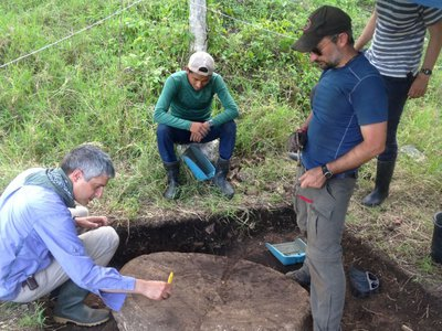 Researchers excavate an altar in the capital of the Maya kingdom of Sak Tz'i'.